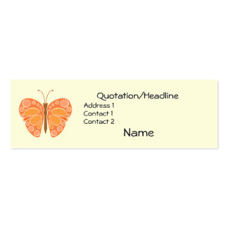 Mandarin 60s Whimsical Butterfly Pack Of Skinny Business Cards