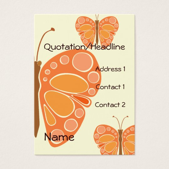 Mandarin Orange 60s Butterfly Business Card