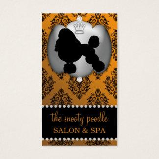 Mandarin Orange Jeweled Damask Dog Grooming/Spa Business Card