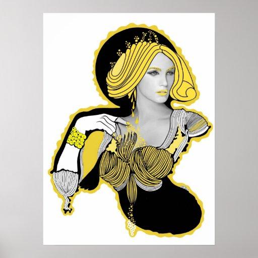 Mandarina Yellow Diva Posters