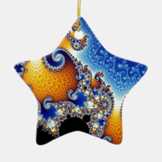 Mandelbrot Blue Double Spiral Fractal Christmas Ornament