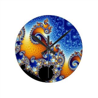 Mandelbrot Blue Double Spiral Fractal Clock