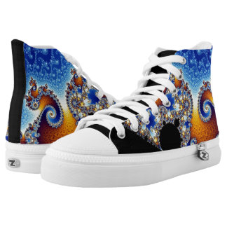 Mandelbrot Blue Double Spiral Fractal High Tops