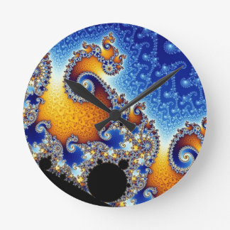 Mandelbrot Blue Double Spiral Fractal Round Clock