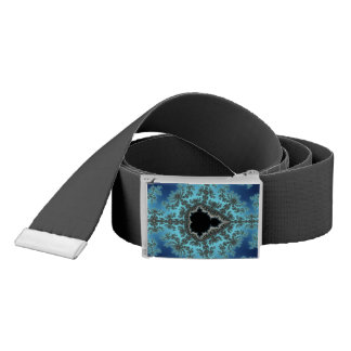 Mandelbrot Snowflake - baby blue fractal design Belt
