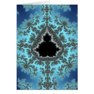 Mandelbrot Snowflake - baby blue fractal design Card