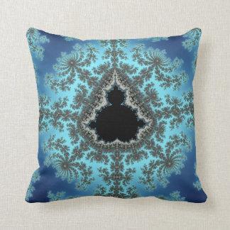 Mandelbrot Snowflake - baby blue fractal design Cushion