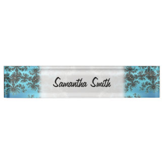Mandelbrot Snowflake - baby blue fractal design Desk Nameplates