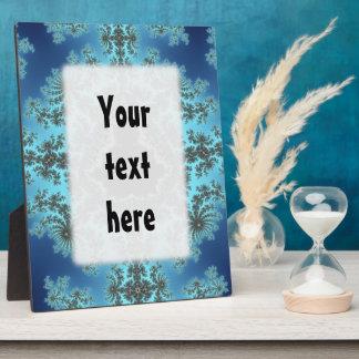 Mandelbrot Snowflake - baby blue fractal design Display Plaques