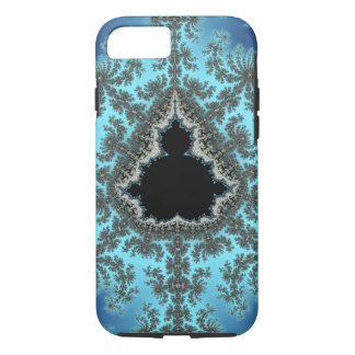 Mandelbrot Snowflake - baby blue fractal design iPhone 7 Case