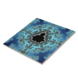 Mandelbrot Snowflake - baby blue fractal design Large Square Tile