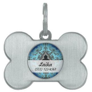 Mandelbrot Snowflake - baby blue fractal design Pet Name Tags