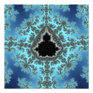 Mandelbrot Snowflake - baby blue fractal design Photo Print