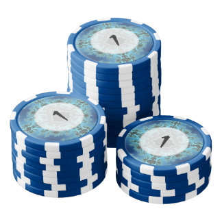 Mandelbrot Snowflake - baby blue fractal design Poker Chips