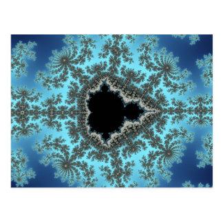 Mandelbrot Snowflake - baby blue fractal design Postcard