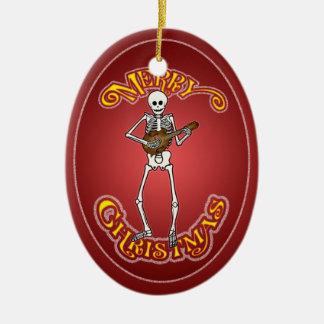 Mandolin Skeleton Christmas Ornament