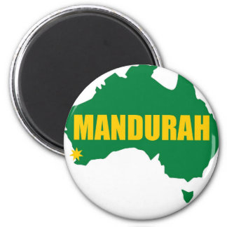 Mandurah Green and Gold Map 6 Cm Round Magnet