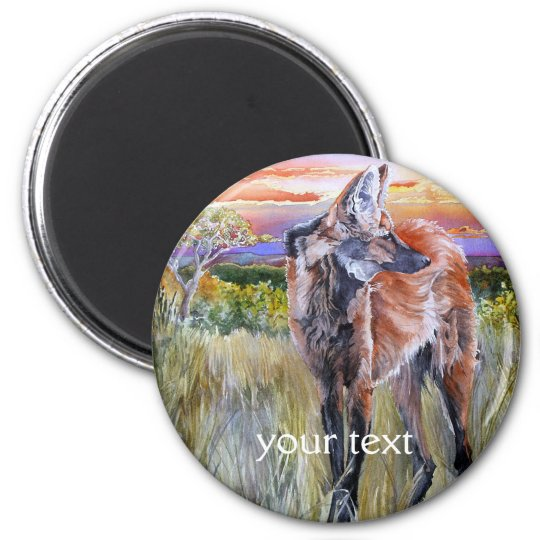 Maned Wolf Watercolor Art 6 Cm Round Magnet
