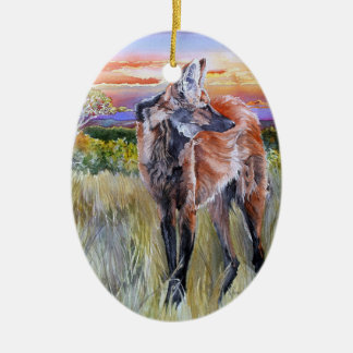 Maned Wolf Watercolor Art Christmas Ornament