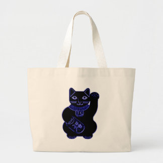 maneki neko blue neon large tote bag