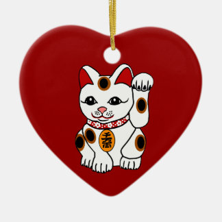 Maneki Neko Cat on Red Background Christmas Ornament