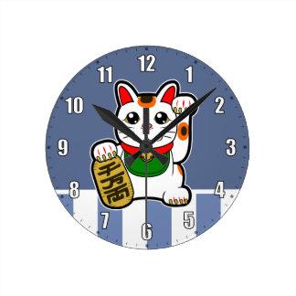 Maneki Neko: Japanese Lucky Cat Round Clock