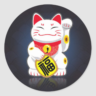 Maneki-neko - Japanese Lucky Cat Round Sticker