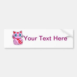 Maneki Neko Lucky Beckoning Cat Pink and Hearts Bumper Sticker