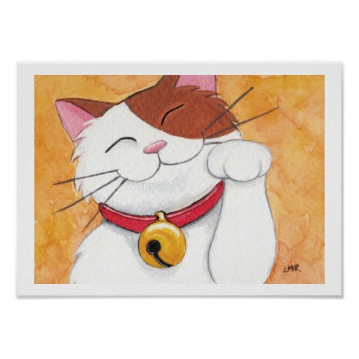 Maneki Neko Lucky Calico Cat Art Print
