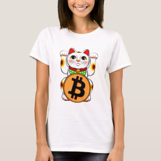 Maneki Neko Lucky Cat Bitcoin Double Paw T-Shirt