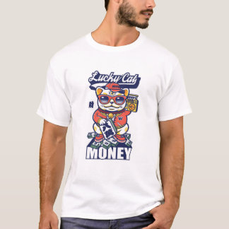 Maneki Neko Money Lucky Cat Chinese Japanese T-Shirt