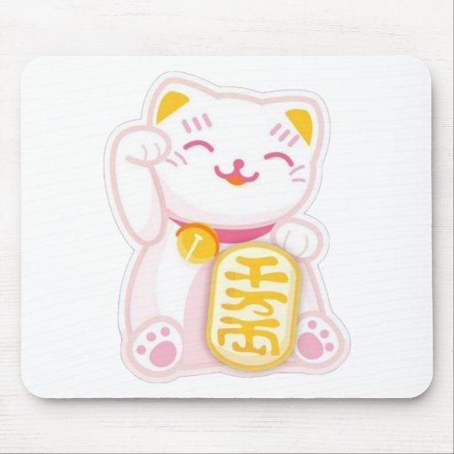 maneki neko pink mousepads