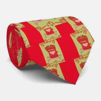 Maneki Neko Red Cat with Hearts Tie