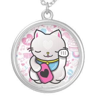 maneki neko silver plated necklace