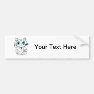 Maneki Neko White Lucky Beckoning Cat Bumper Sticker
