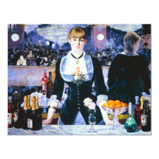 "Manet Bar at the Folies Bergere Invitations 4.25"" X 5.5"" Invitation Card"