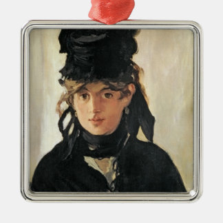Manet | Berthe Morisot with a Bouquet of Violets Silver-Colored Square Decoration