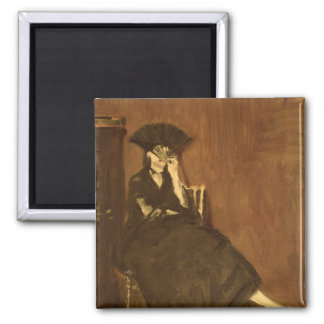 Manet | Berthe Morisot  with a Fan, 1872 Square Magnet