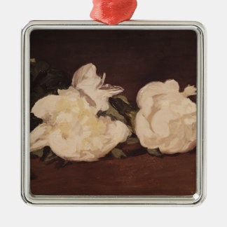 Manet | Branch of White Peonies and Secateurs Silver-Colored Square Decoration