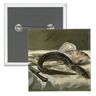Manet | Eel and Red Mullet, 1864 15 Cm Square Badge