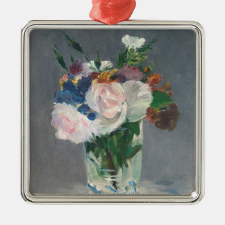 Manet | Flowers in a Crystal Vase, c.1882 Silver-Colored Square Decoration
