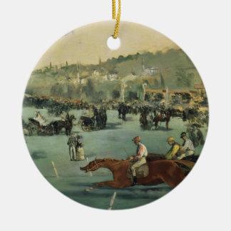 Manet | Horse Racing, 1872 Round Ceramic Decoration