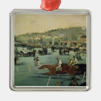 Manet | Horse Racing, 1872 Silver-Colored Square Decoration