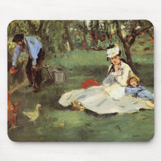 Manet Impressionist French family in garden Mouse Pad