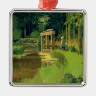 Manet | In a Park Silver-Colored Square Decoration
