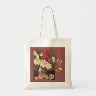 Manet-Inspired Floral with Name Template Budget Tote Bag