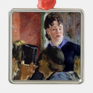 Manet | La Serveuse de Bocks, 1878-79 Silver-Colored Square Decoration