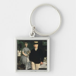 Manet | Luncheon in the Studio, 1868 Silver-Colored Square Key Ring
