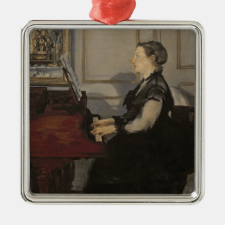 Manet | Madame Manet at the Piano, 1868 Silver-Colored Square Decoration