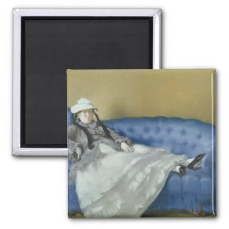 Manet   Madame Manet on a Blue Sofa, 1874 Square Magnet